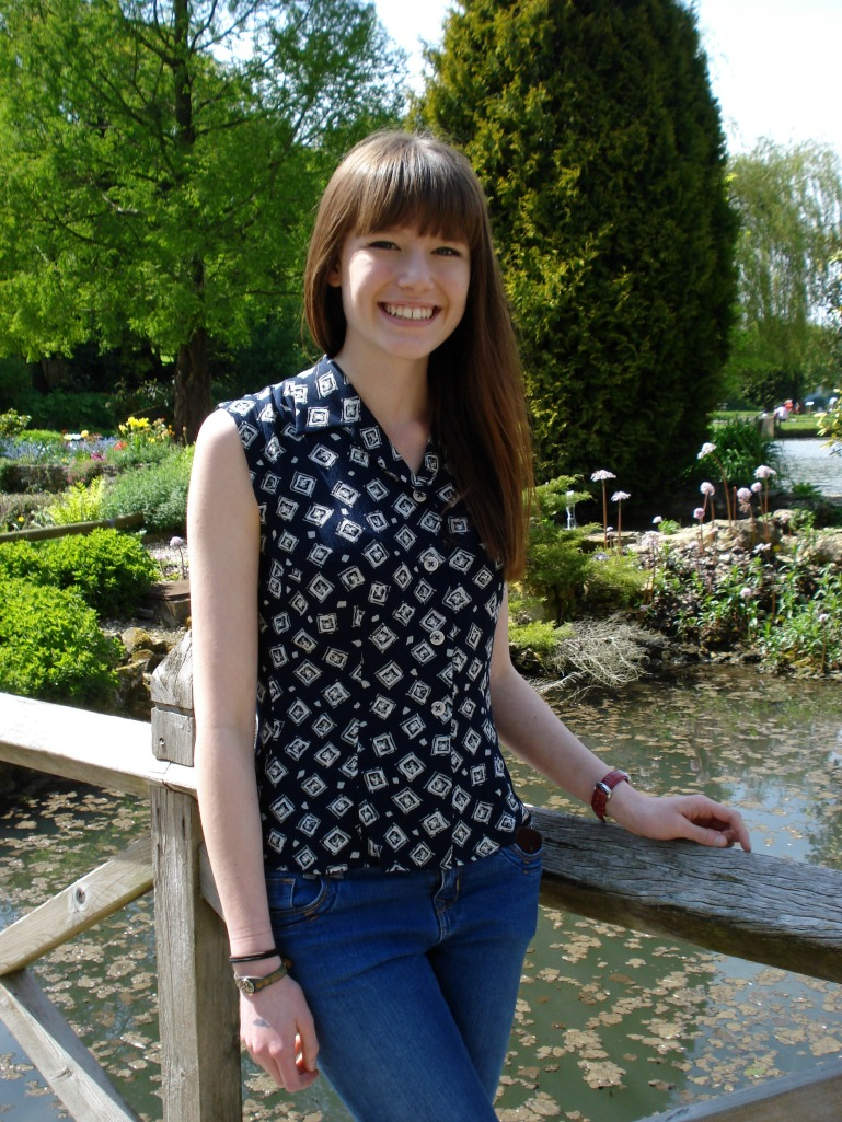 Daughter no2 in her vintage Butterick blouse