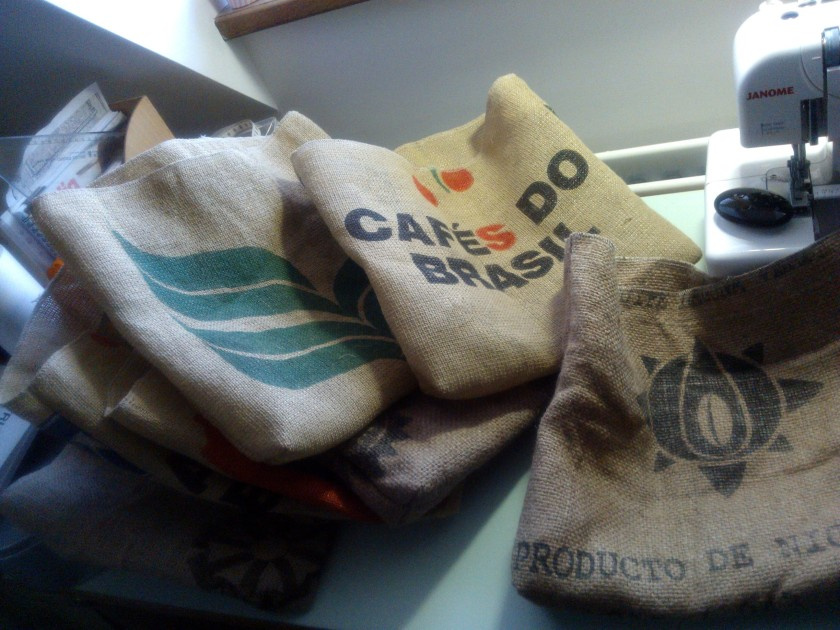 Coffee tote bags in progress