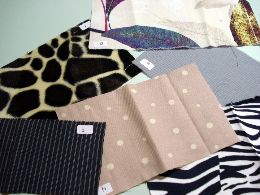 Sample swatches from Ditto Fabrics