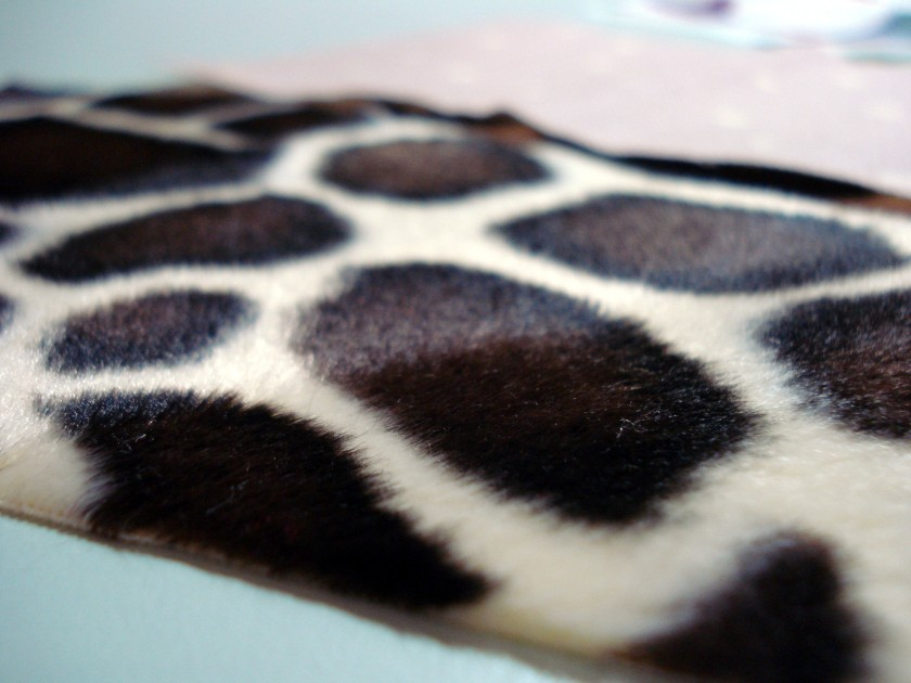 Giraffe print - slightly fluffy, but just enough.