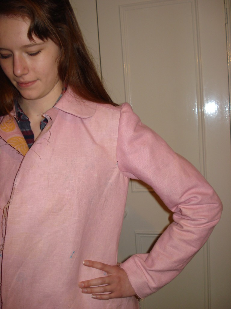 The sleeve in the 2nd toile, developed from the tailored jacket block