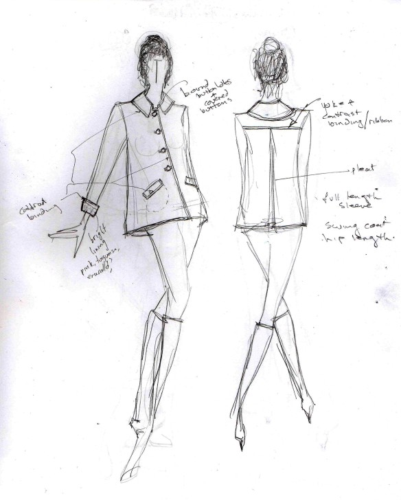 Sketch for 60's style swing jacket with contrast binding and bound buttonholes