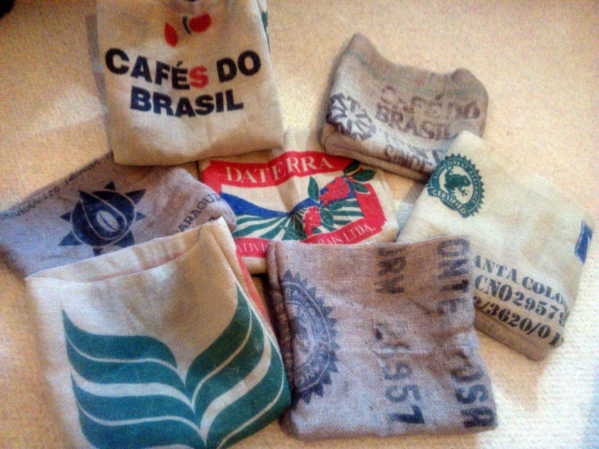 Some of the tote bags made from hessian coffee bean sacks.