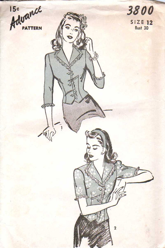 Advance 1944 blouse pattern