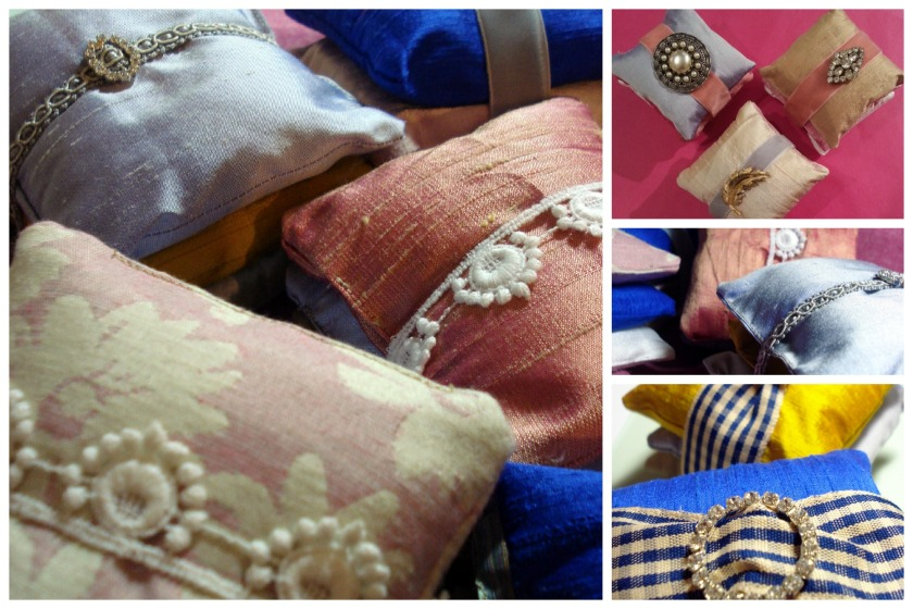 Vintage ribbons & brooches bind silk lavender cushions into fabulous scented bundles