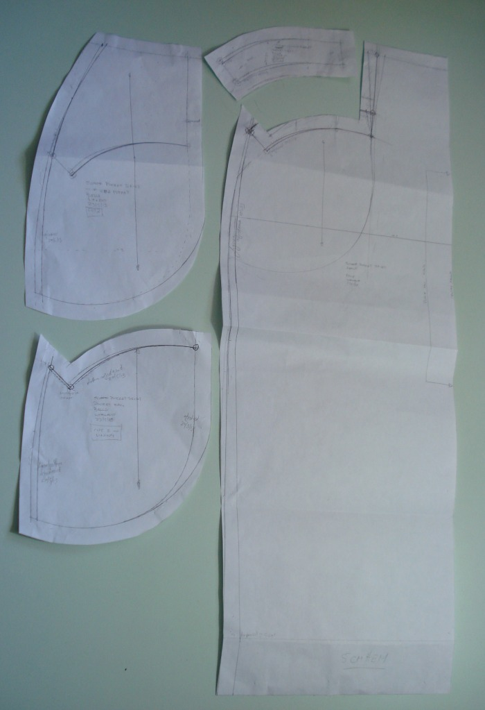 The pattern pieces for Barbara