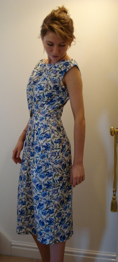 Sheath dress from vintage Butterick pattern in blue floral cotton poplin