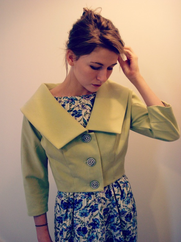 1950 vintage Butterick jacket in pistachio drill