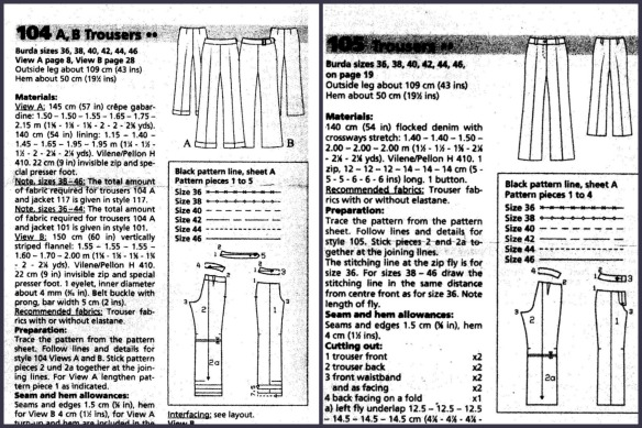 Trousers 104 & 105 BurdaStyle 09/2003