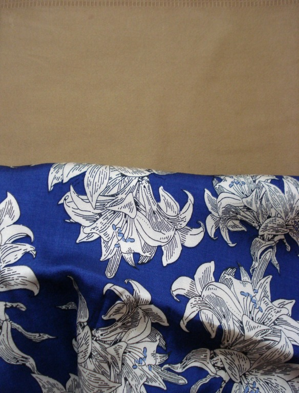 Caramel stretch twill for daughter No2, Blue print viscose for Daughter No1