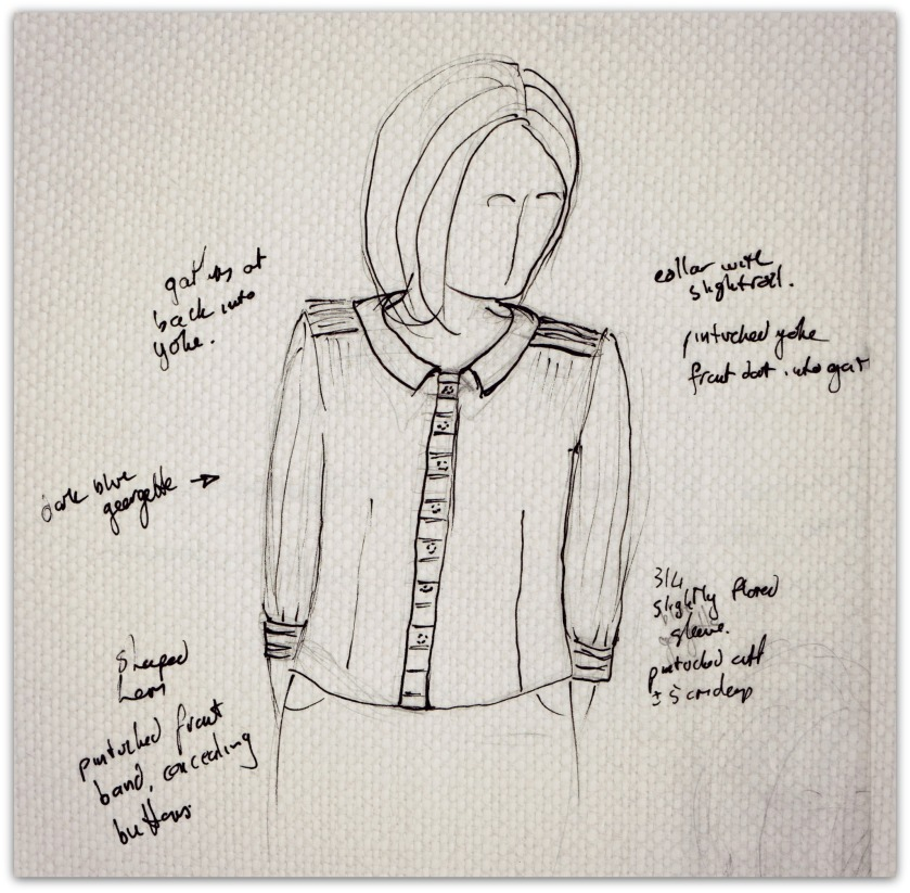 Sketch for my version of the Airelle & the Asos blouse