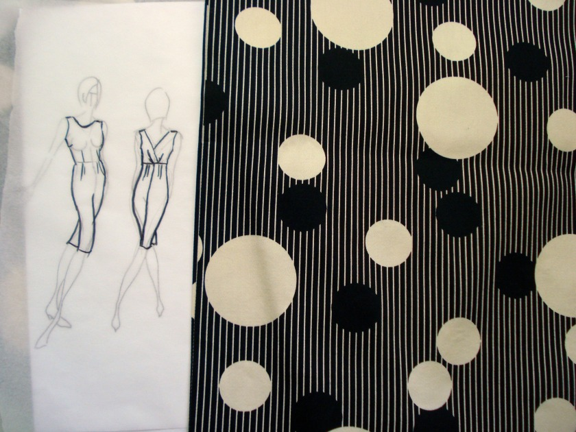 Sketch for a 50s inspired wiggle dress & the fabric - stashbusting!