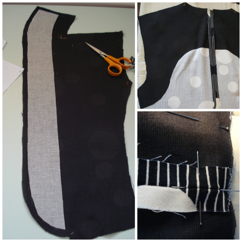 Left: canvas interfacing to support under collar, top right: interfacing supporting the upper back & armholes, bottom right: pinning a seam for a perfect intersection