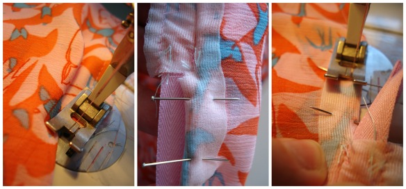 Sew the French seam from the hem up to the zip