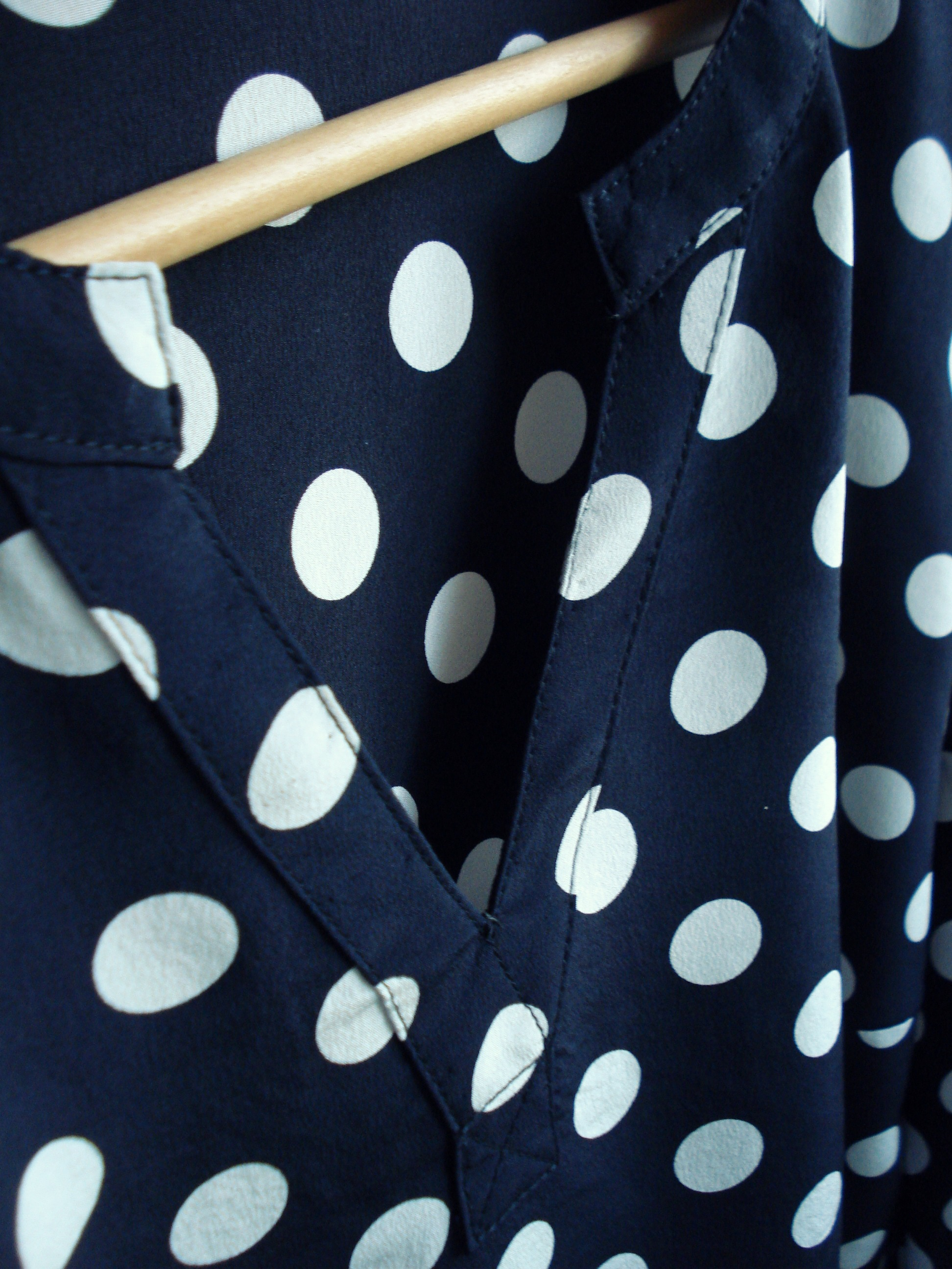 Close-up of the neck-band & faux placket