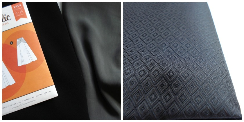 Black wool crepe for a Gabriola, grey polyester for a draped blouse & black silk jacquard for a vintage dress