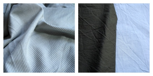 Fabric from Guthrie & Ghani, grey & white striped jersey and two weights of cotton.