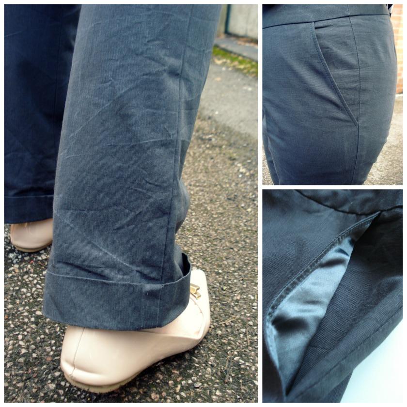 Cuffs & hip yoke pockets lined with grey satin