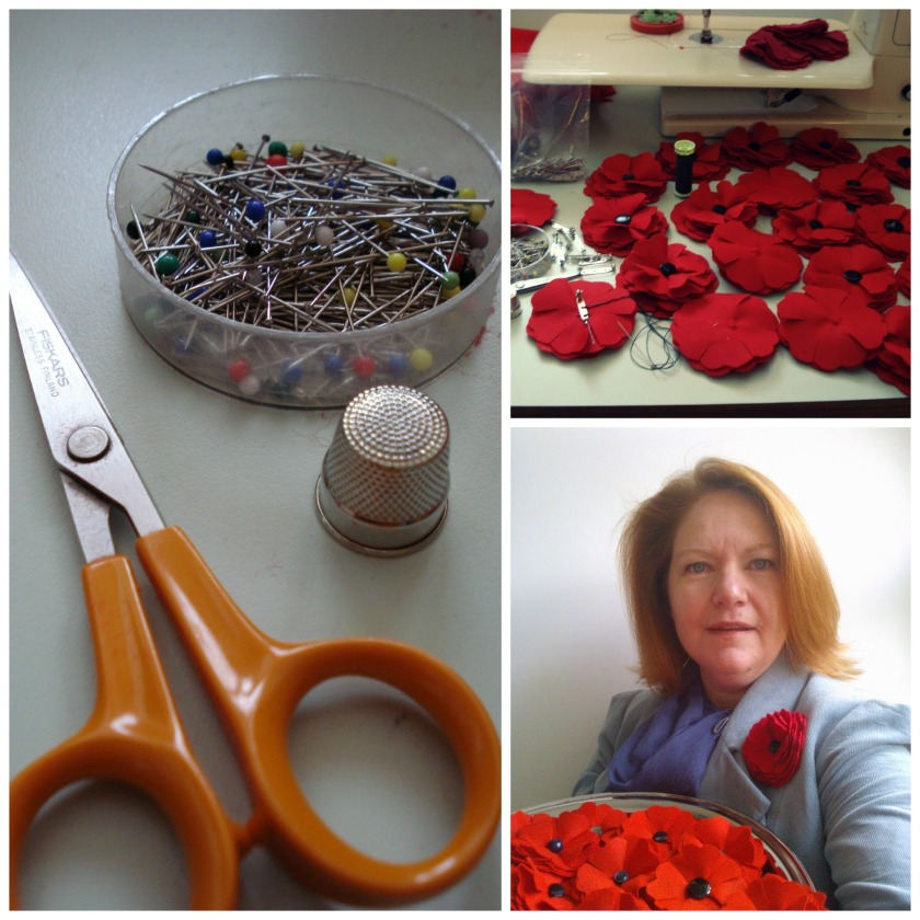 4. WIP - poppies in progress.  5.  Tools - the tools needed for the job, small sharp scissors, pins & a strong thimble!  6.  Me - with a tray of completed poppies ready to re-stock the shops.