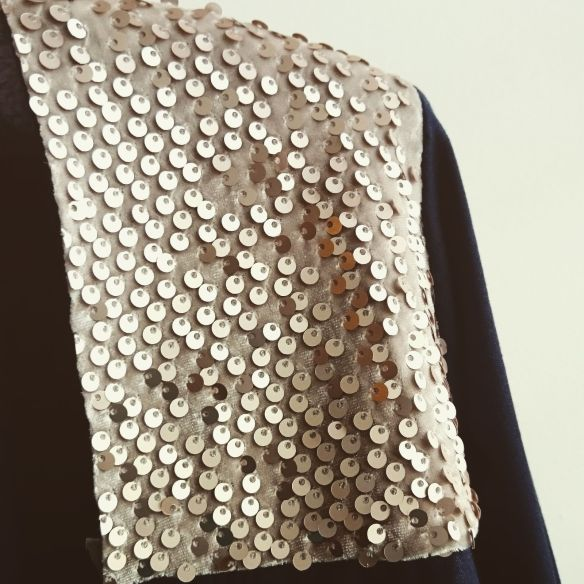 The completed sequined shoulder.
