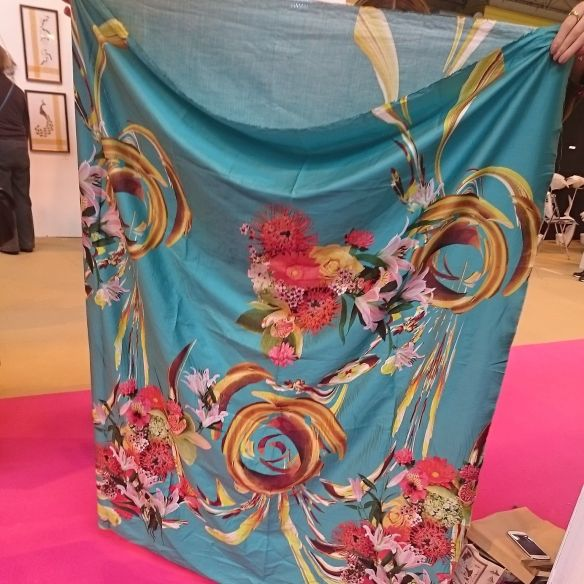 Silk print onto cotton, the most amazing colours!  I got 2 lots of 2 metres, neither for me!!