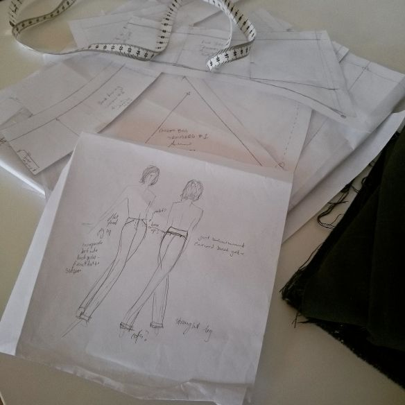 Sketch of the intended pattern and a pile of taped together bits of paper forming the pattern pieces!