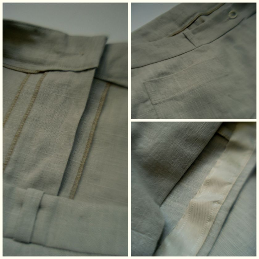 Details, left, the inside of the zip, top right, the patch pockets, & bottom right, the hand stitched seam tape on the hem.