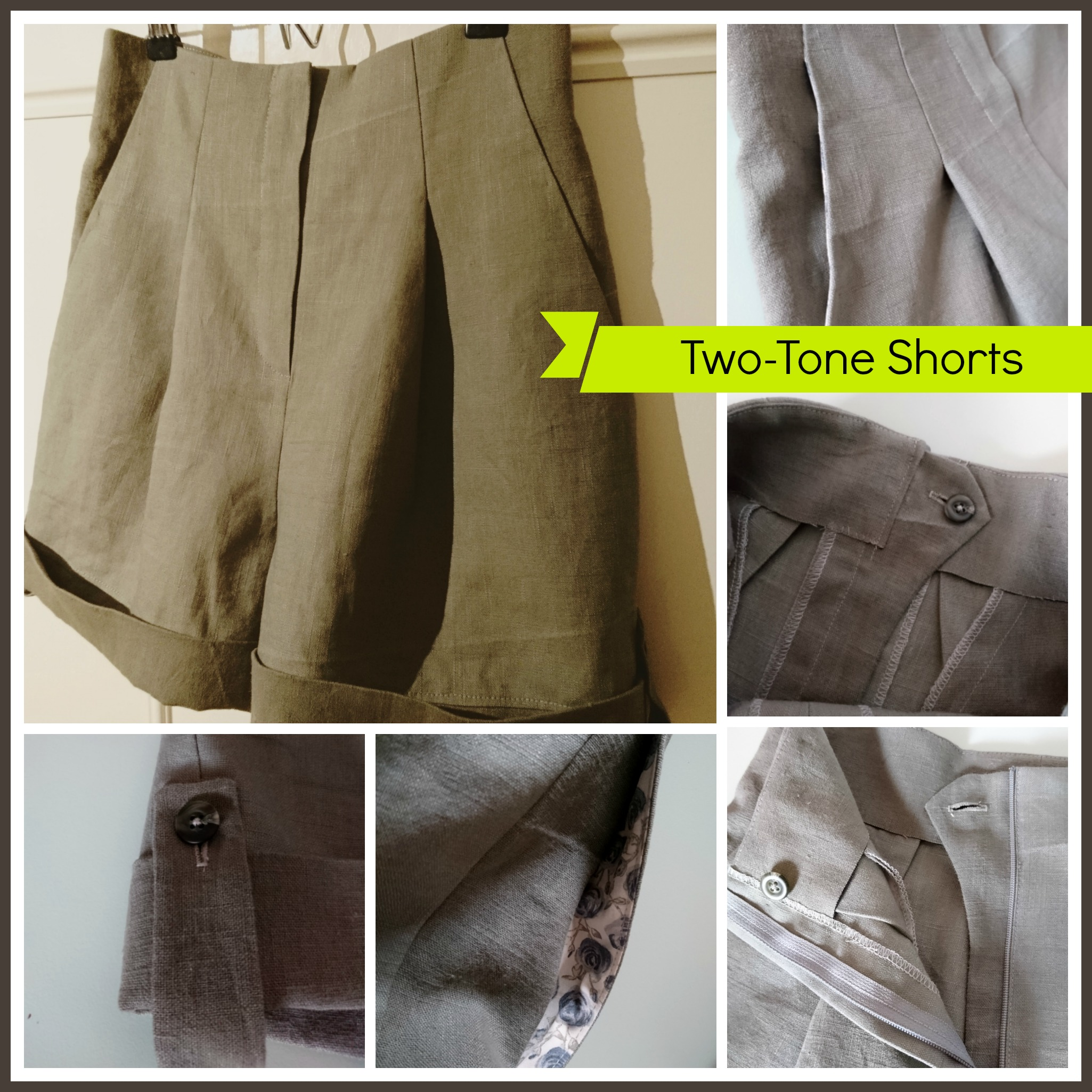 collage culotte shorts