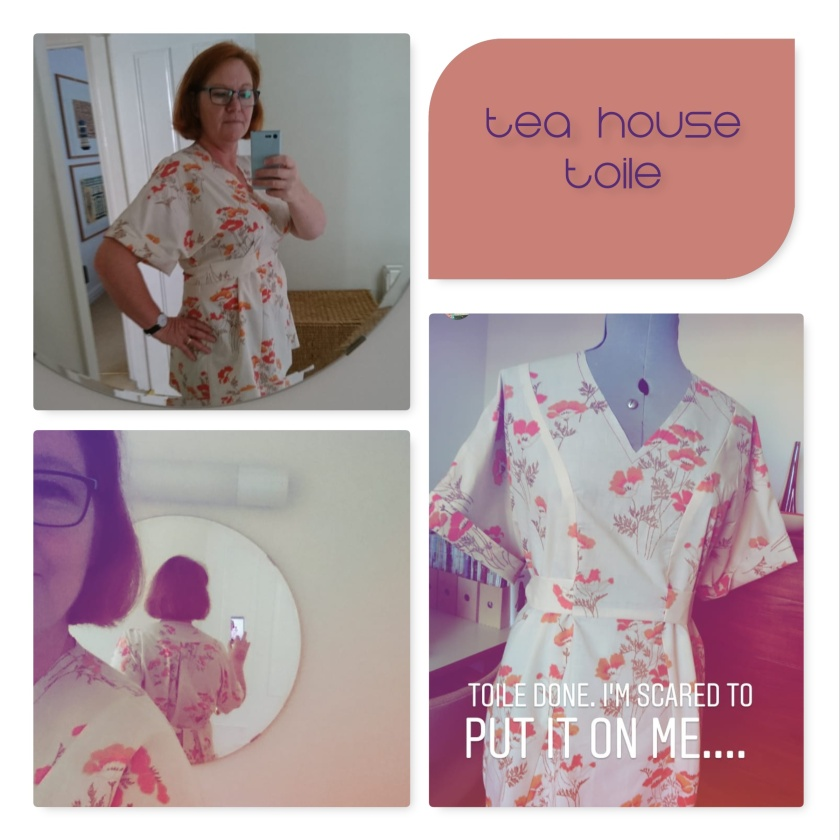 collage tea house toile